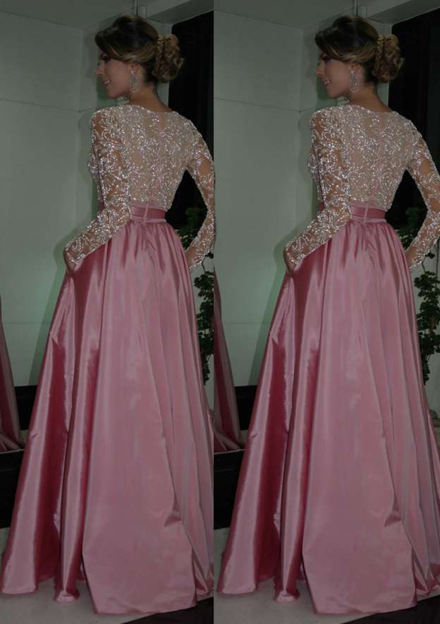 A-Line/Princess V Neck Full/Long Sleeve Long/Floor-Length Taffeta Prom Dress With Bowknot Beading