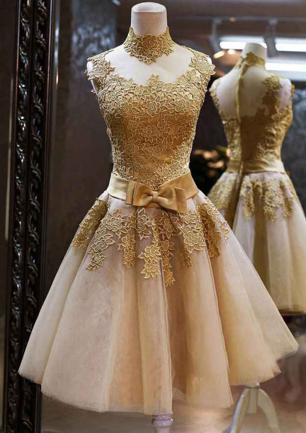 A-Line/Princess High-Neck Sleeveless Short/Mini Tulle Prom Dress With Appliqued Bowknot