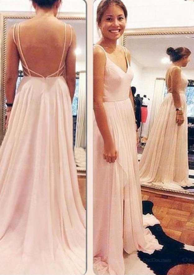 A-Line/Princess V Neck Sleeveless Sweep Train Chiffon Prom Dress