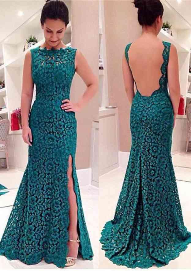 Sheath/Column Bateau Sleeveless Sweep Train Lace Prom Dress With Split