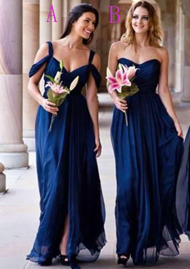 A-Line/Princess Sweetheart Sleeveless Long/Floor-Length Chiffon Bridesmaid Dress