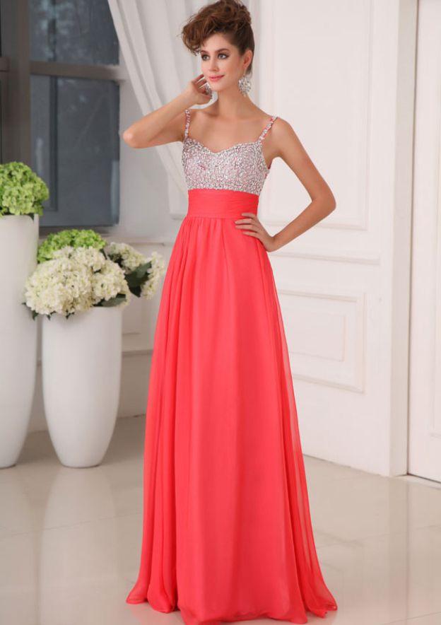 A-Line/Princess Sweetheart Sleeveless Long/Floor-Length Chiffon Prom Dress With Beading