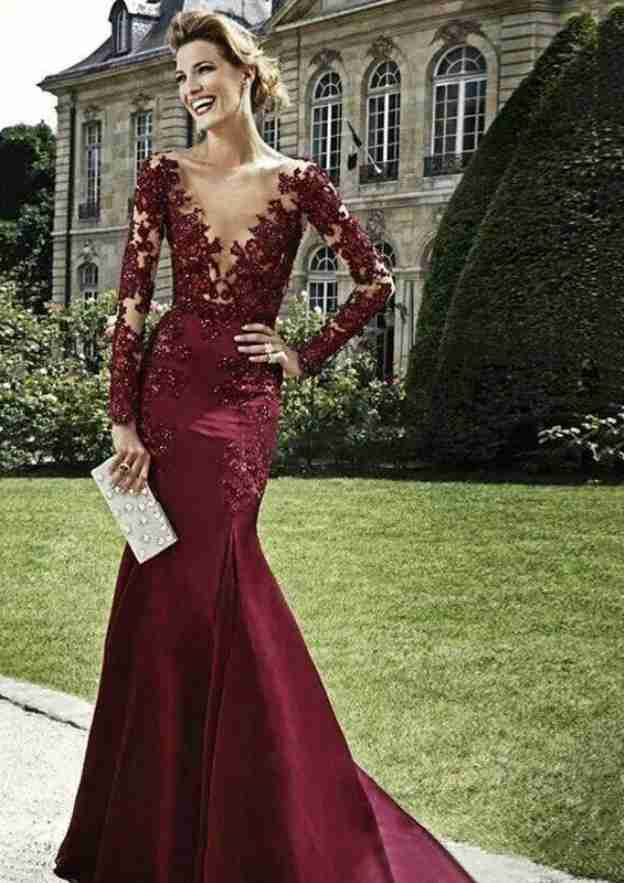 Trumpet/Mermaid V Neck Full/Long Sleeve Long/Floor-Length Satin Prom Dress With Appliqued Beading
