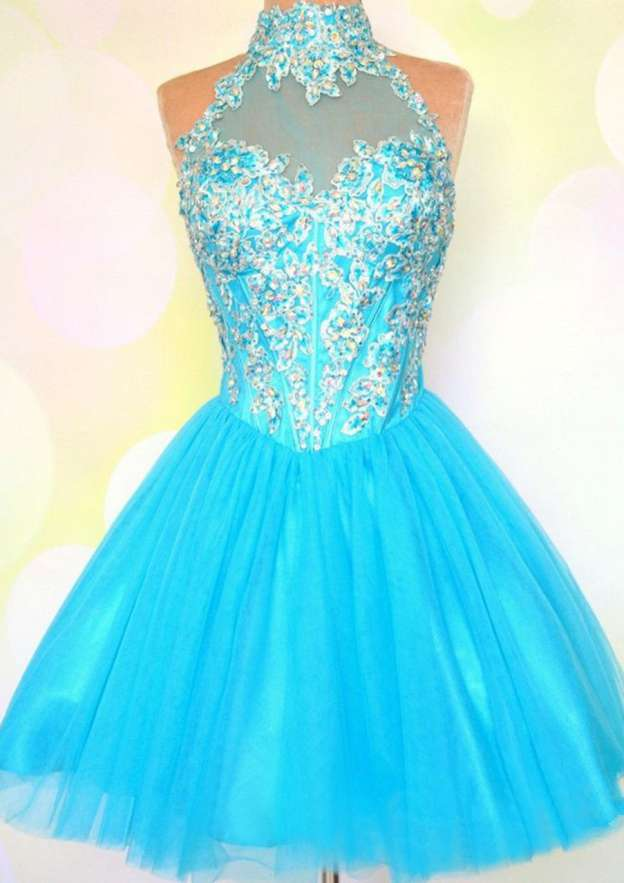 A-Line/Princess High-Neck Sleeveless Short/Mini Tulle Prom Dress With Crystal Beading