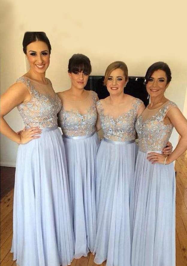 A-Line/Princess Bateau Sleeveless Long/Floor-Length Chiffon Bridesmaid Dresses With Appliqued