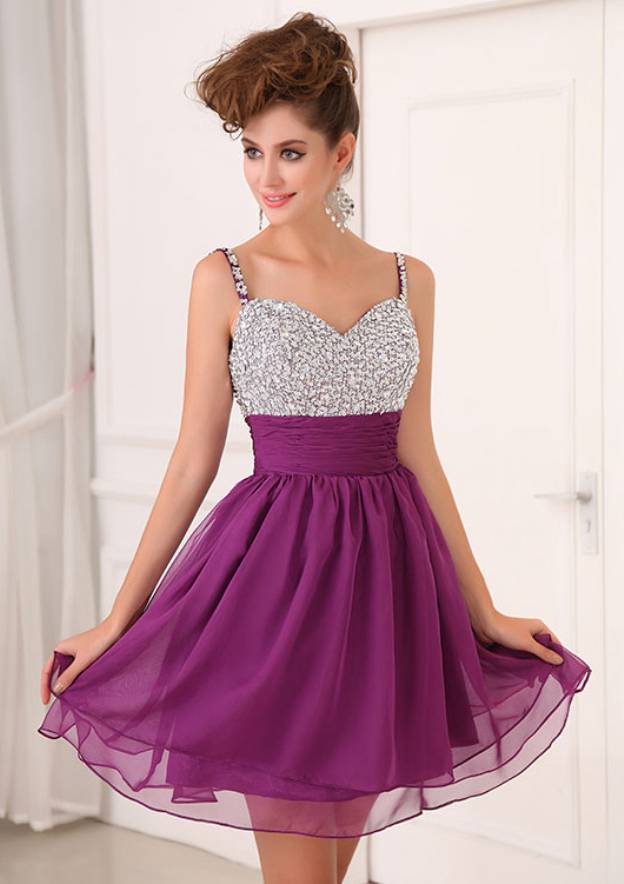 A-Line/Princess Sweetheart Sleeveless Short/Mini Chiffon Homecoming Dress With Beading