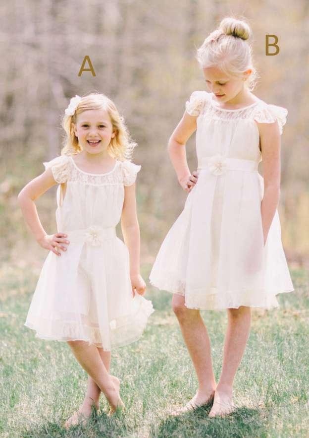 A-Line/Princess Bateau Sleeveless Knee-Length Chiffon Flower Girl Dress With Lace