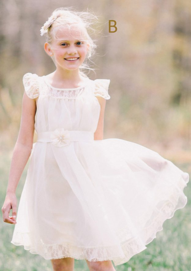 A-Line/Princess Bateau Sleeveless Knee-Length Chiffon Flower Girl Dress With Lace