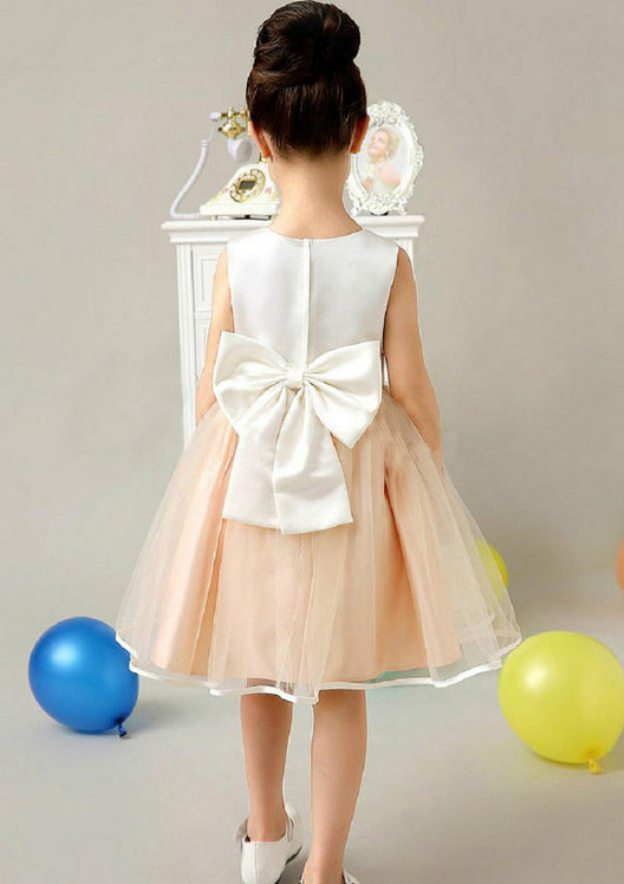 A-Line/Princess Bateau Sleeveless Knee-Length Organza Flower Girl Dress With Bowknot Hem