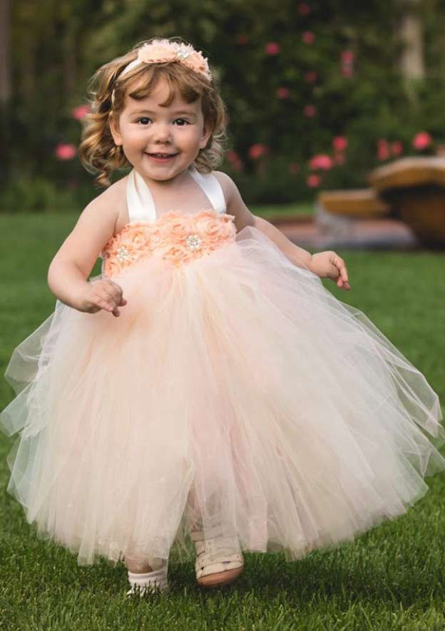 Ball Gown Halter Sleeveless Ankle-Length Tulle Flower Girl Dress With Appliqued