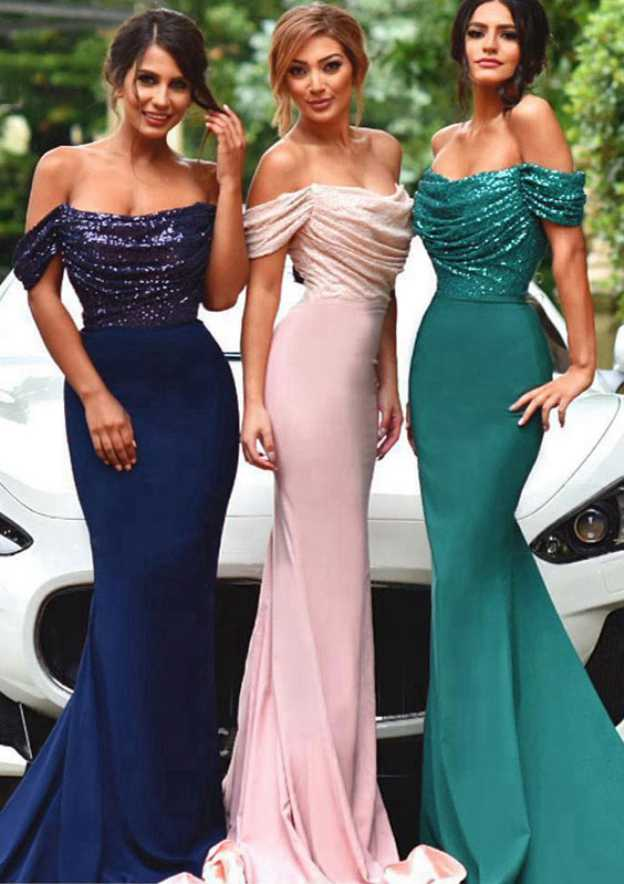 Trumpet/Mermaid Off-The-Shoulder Short Sleeve Court Train Jersey Bridesmaid Dress With Pleated Sequins