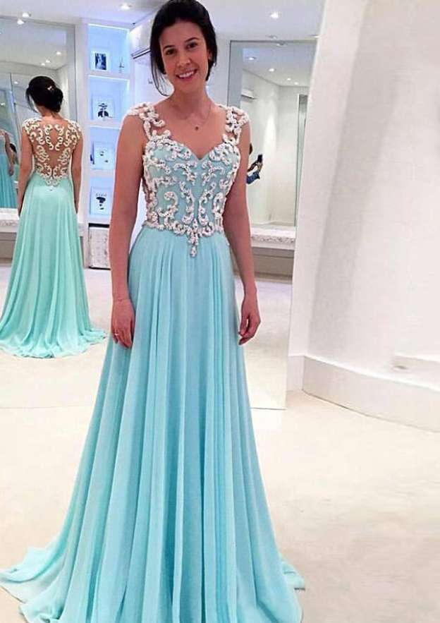A-Line/Princess V Neck Sleeveless Sweep Train Chiffon Prom Dress With Appliqued