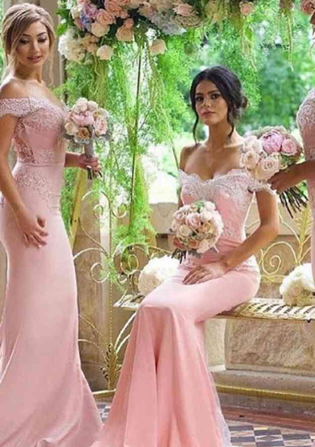 Trumpet/Mermaid V Neck Sleeveless Court Train Elastic Satin Bridesmaid Dress With Lace Appliqued