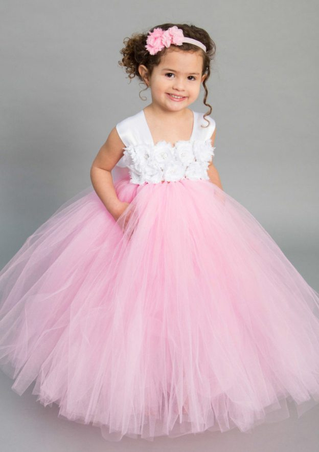 732d7ce50db Ball Gown Square Neckline Sleeveless Ankle-Length Tulle Flower Girl Dress  With Flowers