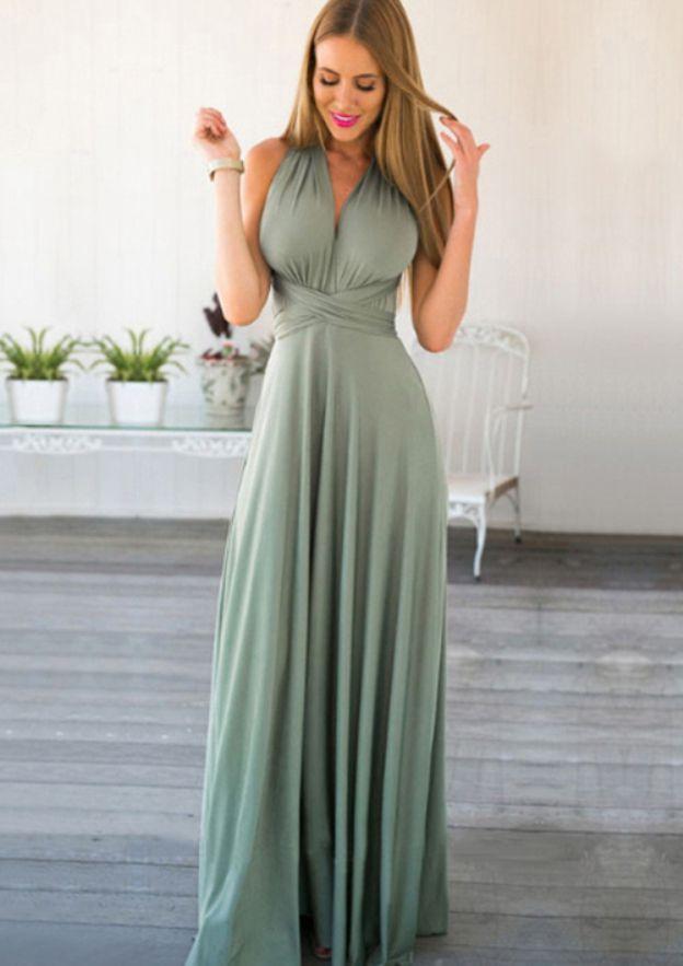 A-Line/Princess V Neck Sleeveless Long/Floor-Length Chiffon Prom Dress With Sashes