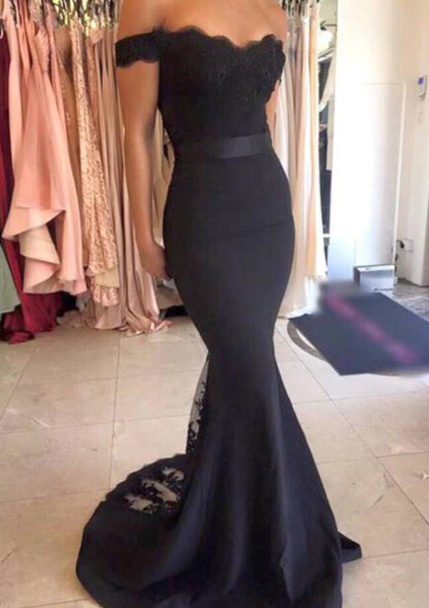 Trumpet/Mermaid Off-The-Shoulder Sleeveless Sweep Train Elastic Satin Prom Dress With Sashes Lace