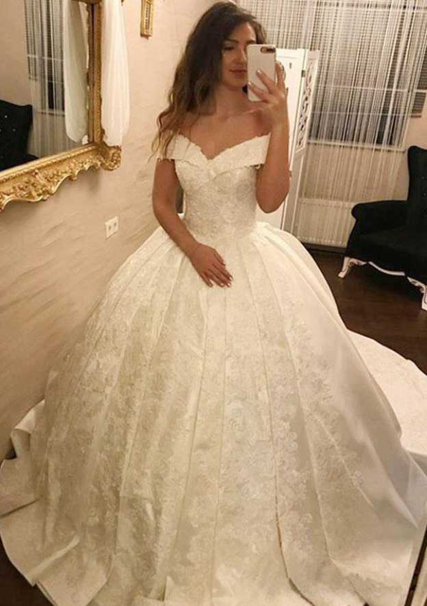 Ball Gown Off-The-Shoulder Sleeveless Court Train Satin Wedding Dress With Appliqued Lace Pleated