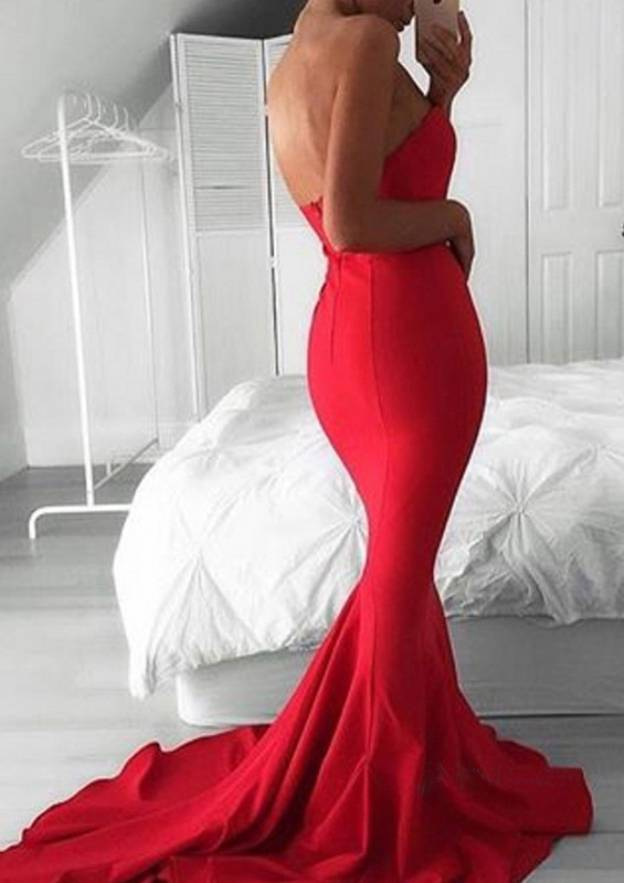 Trumpet/Mermaid Sweetheart Sleeveless Court Train Elastic Satin Evening Dress With Pleated