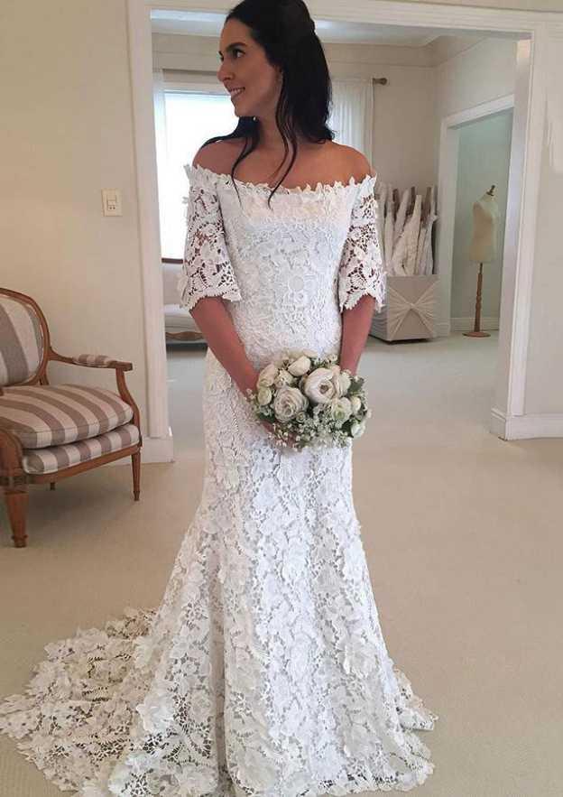 Sheath/Column Off-The-Shoulder Half Sleeve Sweep Train Lace Wedding Dress