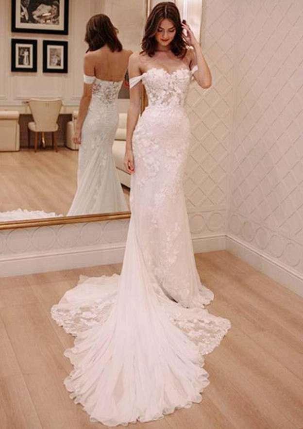 Sheath/Column Off-The-Shoulder Sleeveless Chapel Train Chiffon Wedding Dress With Lace