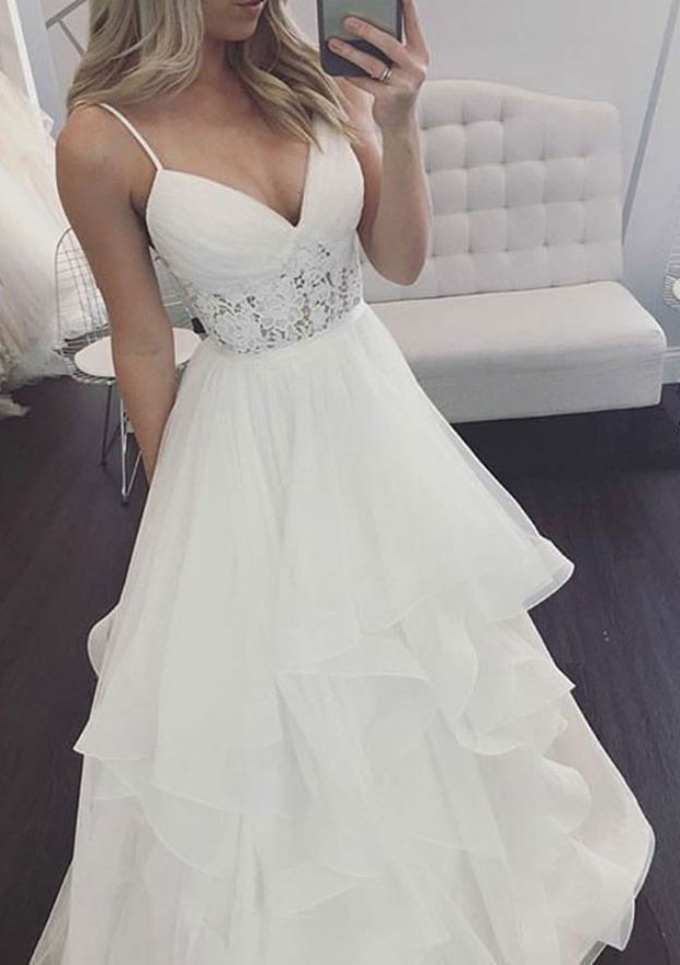 A-Line/Princess V Neck Sleeveless Long/Floor-Length Tulle Wedding Dress With Lace Ruffles