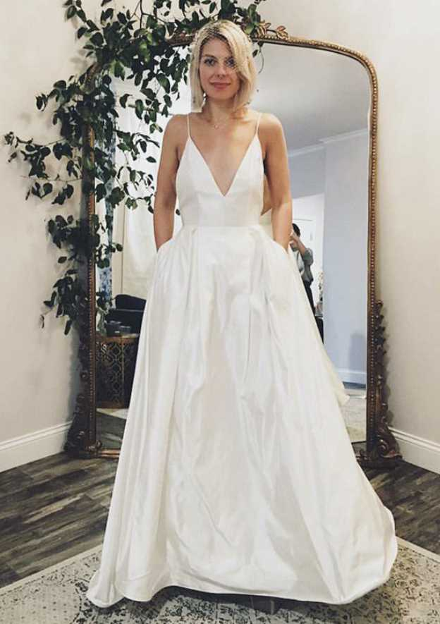 A-Line/Princess V Neck Sleeveless Sweep Train Satin Wedding Dress With Pockets