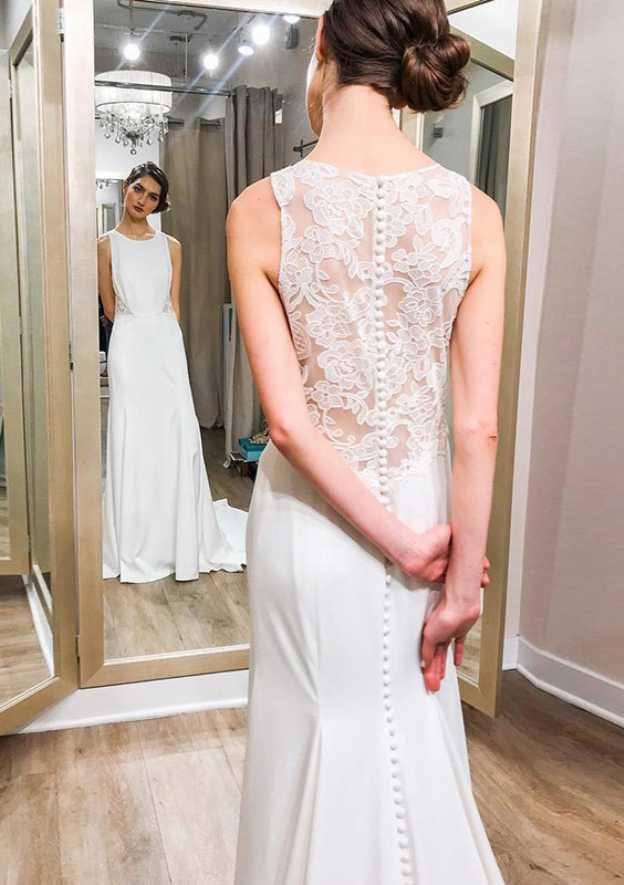 Sheath/Column Bateau Sleeveless Sweep Train Elastic Satin Wedding Dress With Lace