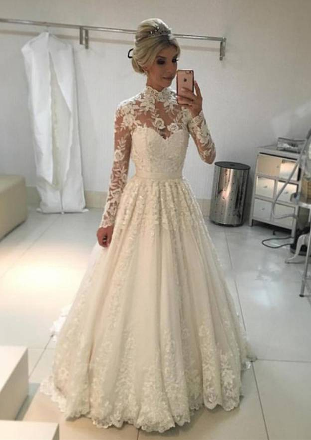 A-Line/Princess High-Neck Full/Long Sleeve Long/Floor-Length Lace Wedding Dress With Appliqued