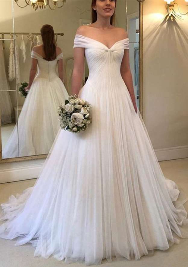 A-Line/Princess Off-The-Shoulder Sleeveless Sweep Train Tulle Wedding Dress With Pleated