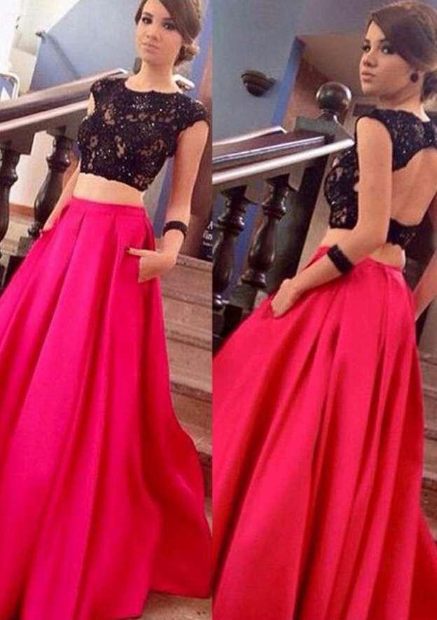 A-Line/Princess Bateau Sleeveless Long/Floor-Length Satin Prom Dress With Lace Beading