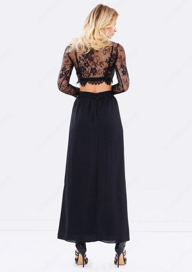 A-Line/Princess Bateau Full/Long Sleeve Long/Floor-Length Chiffon Prom Dress With Split Lace