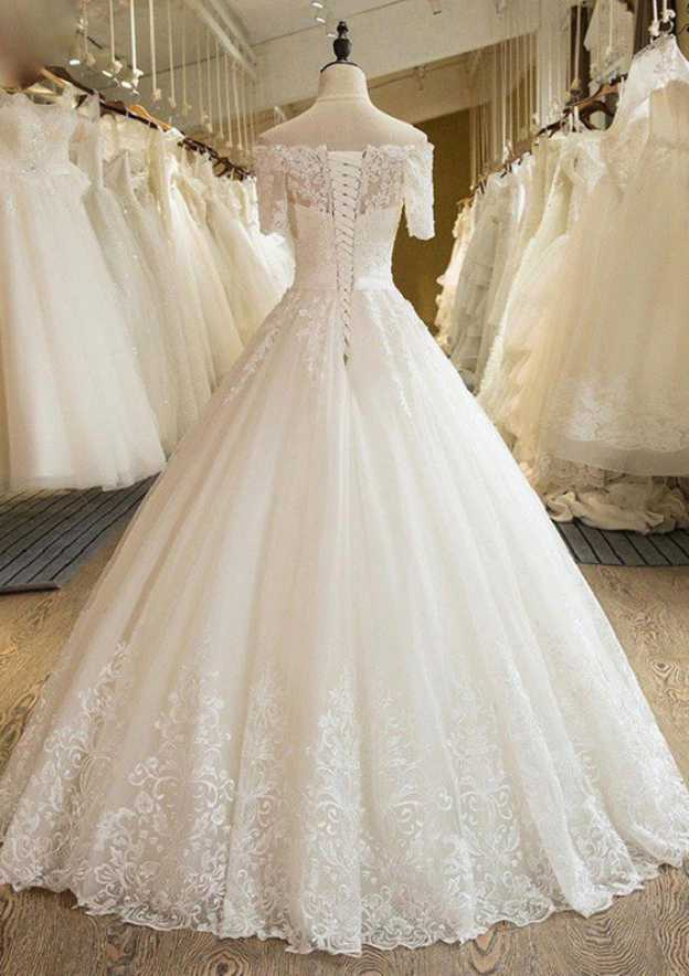 Ball Gown Off-The-Shoulder Short Sleeve Long/Floor-Length Tulle Wedding Dress With Lace Appliqued