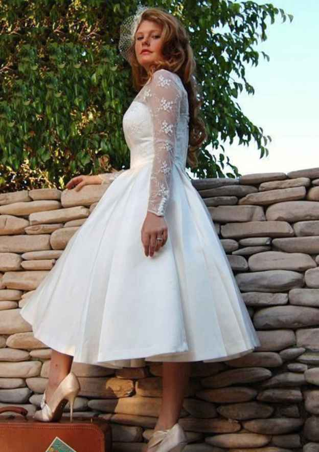 Ball Gown V Neck Full/Long Sleeve Tea-Length Satin Wedding Dress With Lace