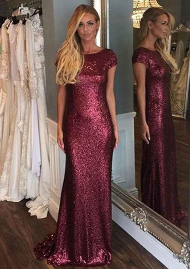 Sheath/Column Bateau Short Sleeve Sweep Train Sequined Prom Dress