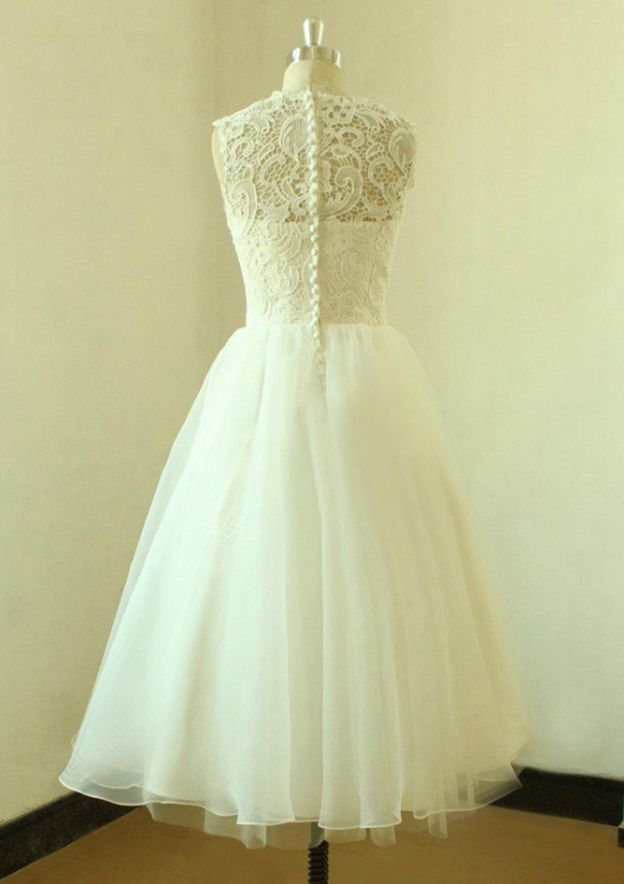 A-Line/Princess Bateau Sleeveless Tea-Length Organza Wedding Dress With Lace