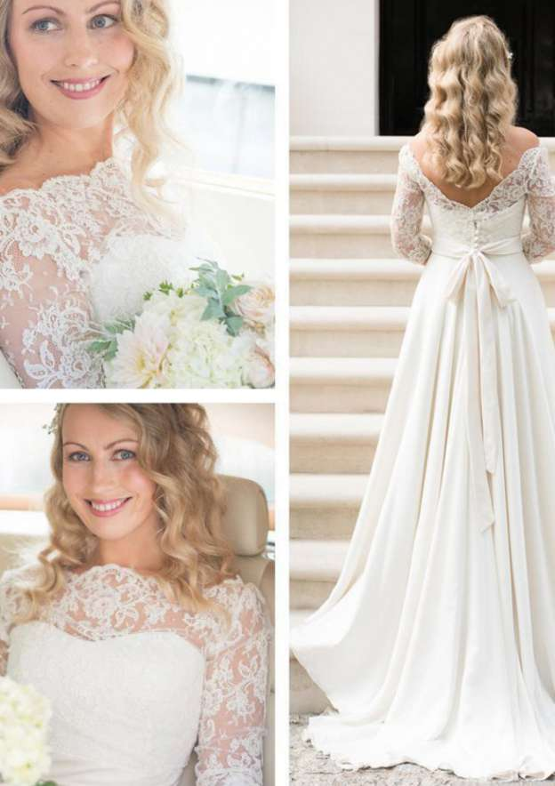 A-Line/Princess Scalloped Neck Full/Long Sleeve Sweep Train Elastic Satin Wedding Dress With Lace Sashes