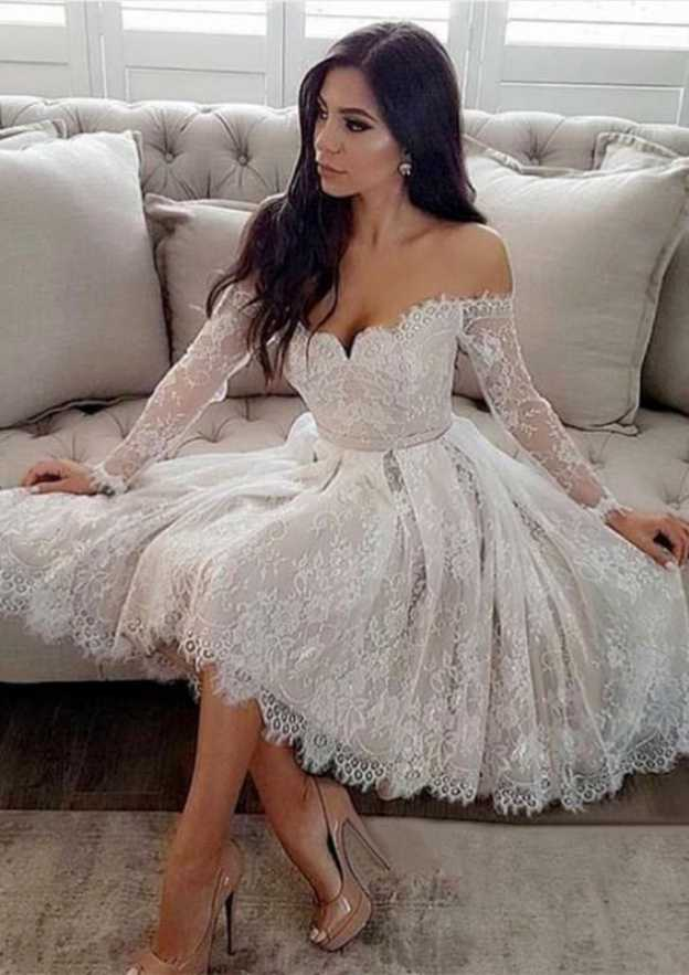 A-Line/Princess Off-The-Shoulder Full/Long Sleeve Knee-Length Lace Wedding Dress