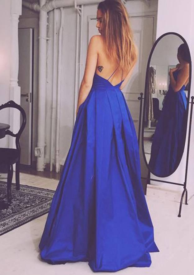 A-Line/Princess V Neck Sleeveless Long/Floor-Length Taffeta Prom Dress With Pleated