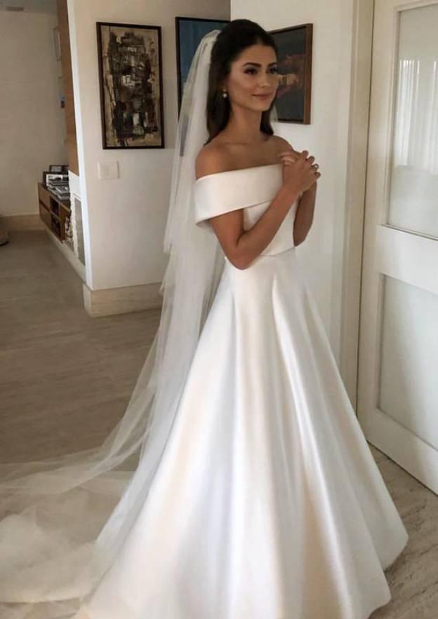 A-Line/Princess Off-The-Shoulder Sleeveless Court Train Satin Wedding Dress With Bowknot Waistband