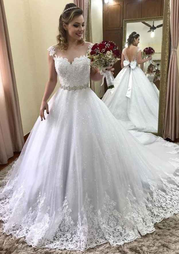 Ball Gown Bateau Sleeveless Court Train Lace Wedding Dress With Appliqued Bowknot Waistband