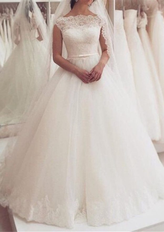 Ball Gown Bateau Sleeveless Long/Floor-Length Tulle Wedding Dress With Lace Waistband Hem