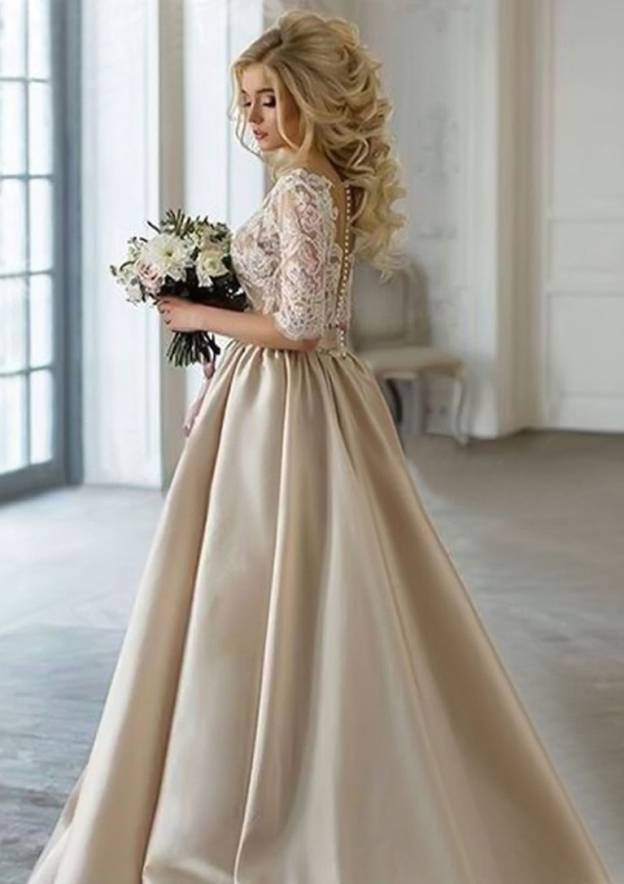 Ball Gown V Neck Half Sleeve Long/Floor-Length Satin Prom Dress With Lace