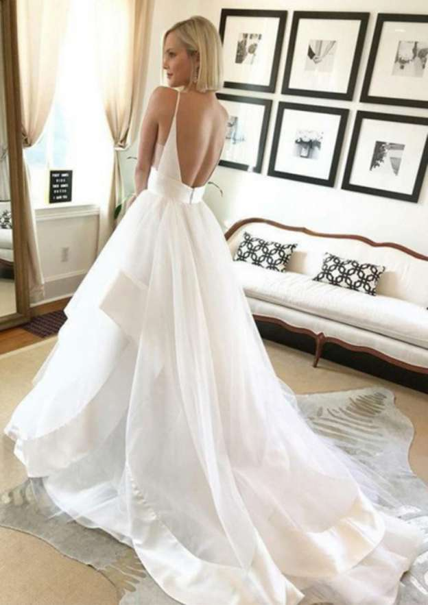 Ball Gown V Neck Sleeveless Chapel Train Tulle Wedding Dress With Ruffles
