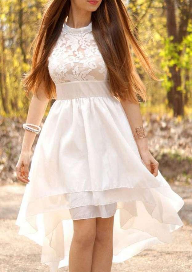A-Line/Princess Scoop Neck Sleeveless Asymmetrical Chiffon Wedding Dress With Appliqued