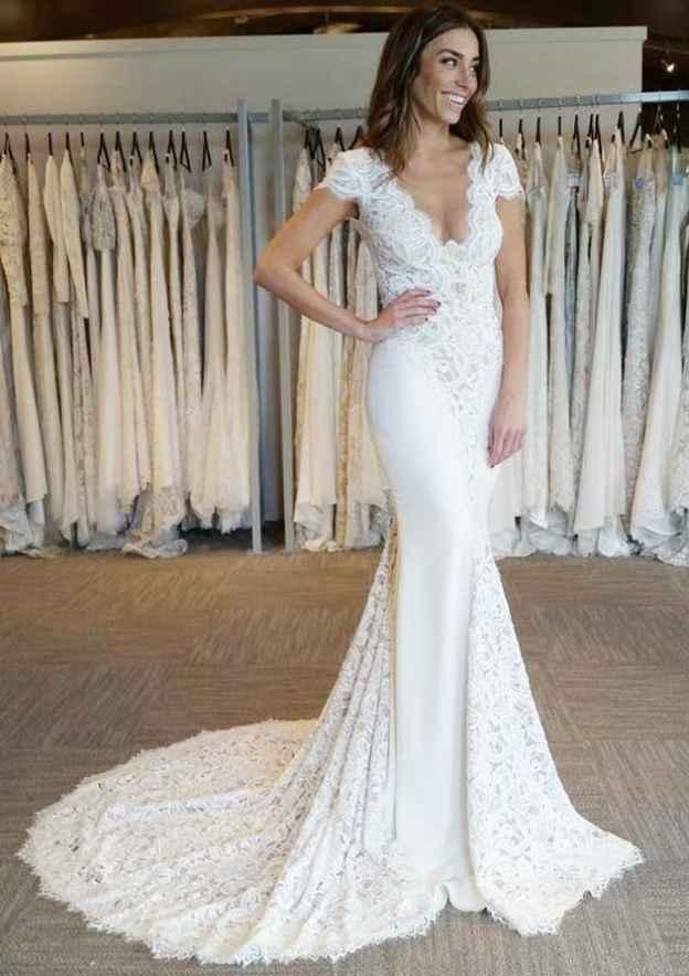 Trumpet/Mermaid Scalloped Neck Sleeveless Court Train Lace Wedding Dress