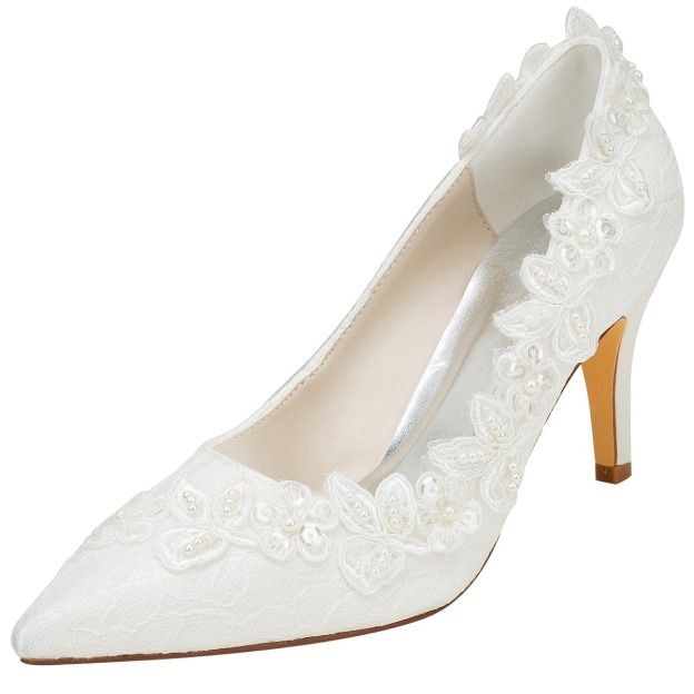Close Toe Pumps Wedding Shoes Stiletto Heel Satin Wedding Shoes With Appliqued Imitation Pearl