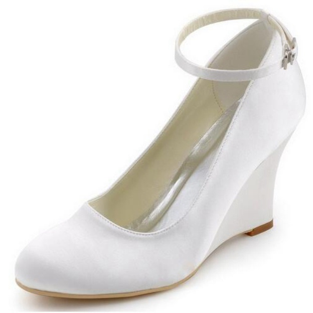 Close Toe Wedges Wedding Shoes Wedge Heel Satin Wedding Shoes With Buckle