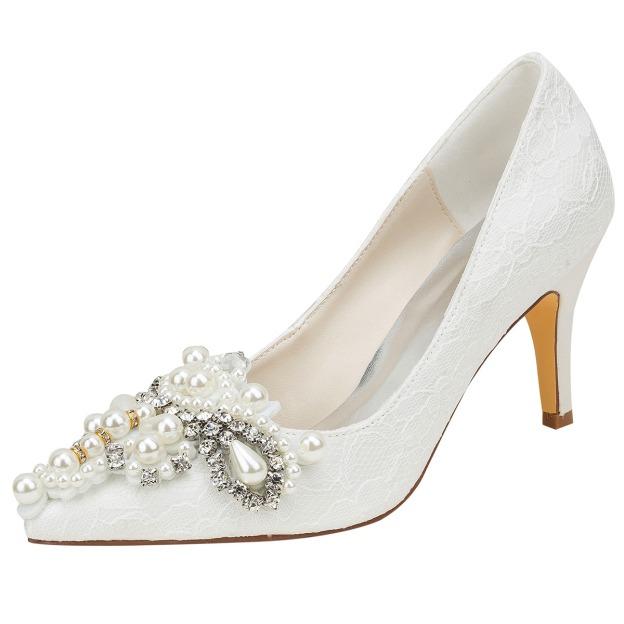 Close Toe Pumps Wedding Shoes Stiletto Heel Lace Wedding Shoes With Imitation Pearl Rhinestone