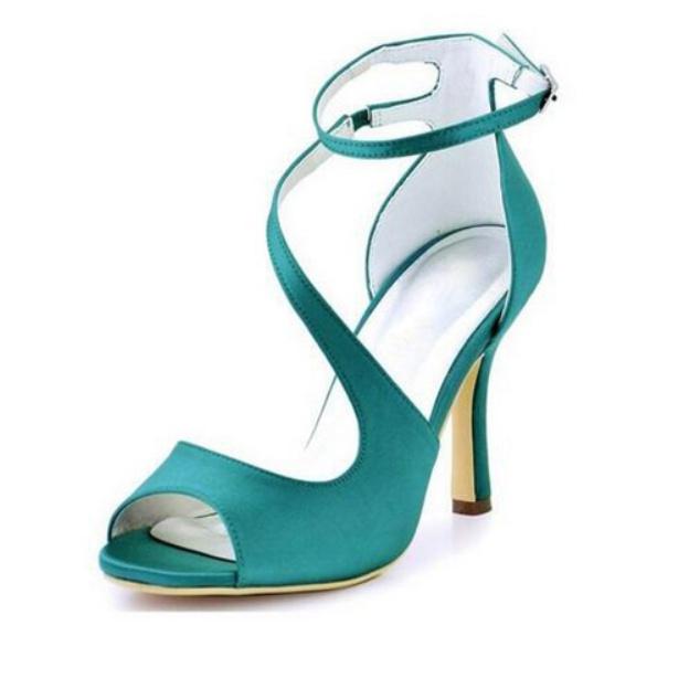 Peep Toe Pumps Sandals Spool Heel Satin Wedding Shoes With Buckle
