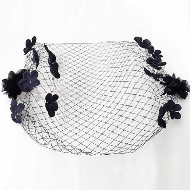 Net Yarn Ladies Birdcage Veils With Flower